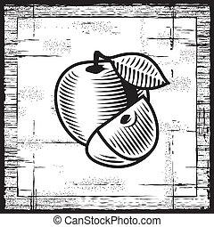 Retro apple black and white