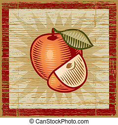 Retro apple with a slice on wooden background. Vector...