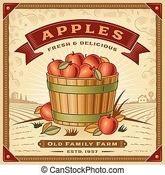 Retro apple harvest label with landscape