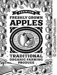 Retro apples poster black and white