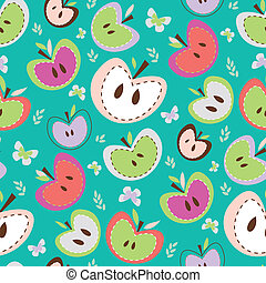 Retro Apples Seamless Background - Cute apples pattern with ...