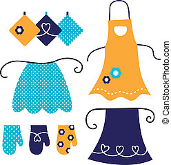 Apron and kitchen accessories. Vector elements