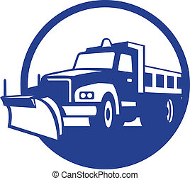 retro, aratro, camion, cerchio, neve