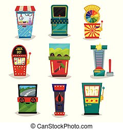 Retro arcade game machines set, claw crane, strength tester, auto simulator, wheel of fortune, boxing vector Illustration on a white background