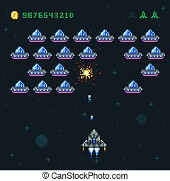 Retro arcade game screen with pixel invaders and spaceship. Space war computer 8 bit old vector graphics