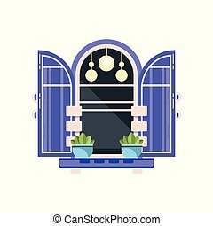 Retro arched window with blue shutters, architectural design element vector Illustration on a white background