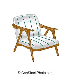 Retro armchair flat vector illustration. Vintage wooden chair with blue striped upholstery isolated on white background. Stylish contemporary furniture piece. Trendy home decor design element.