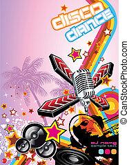 Art Disco Dance Background with DJ Silhouette - Retro Art ...