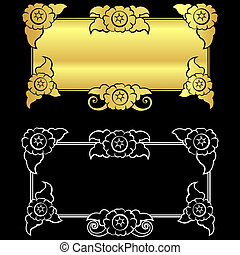retro art style ornament black color and out line