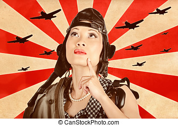 Retro asian pinup girl. War planes of revolution - Retro...