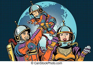 Retro astronauts family dad mom and child pop art retro...