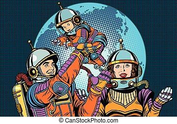 Retro astronauts family dad mom and child pop art retro...