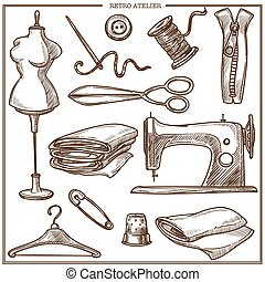Retro atelier or dressmaker tailor salon equipment vector...