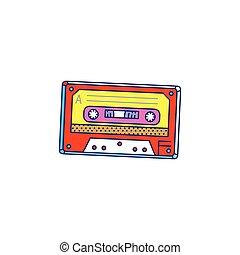 Retro audio cassette cartoon pop art icon, sketch vector illustration isolated.