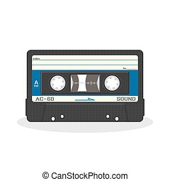 Retro audio cassette design isolated on a white background. Vintage style music storage icon. Old record player tape.