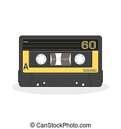 Retro audio cassette design. Old record player tape isolated on a white background.