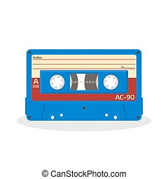 Retro audio cassette in blue color isolated on a white background. Vintage style music storage icon.