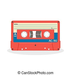 Retro audio cassette in red color isolated on a white background. Vintage style music storage icon.