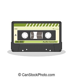 Retro audio cassette isolated on a white background. Old record player tape. Vintage style music storage icon.