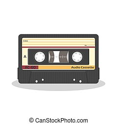 Retro audio cassette isolated on a white background. Vintage style music storage icon. Old record player tape.