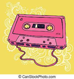 Retro Audio cassette tape - Retro Pink Audio cassette tape. ...