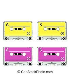 retro audio tapes against white