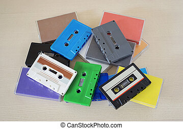 Retro audio tapes on the table