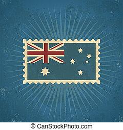 Retro Australia Flag Postage Stamp