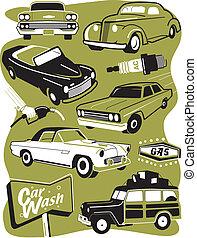 retro, autó, nyiradék rajzóra