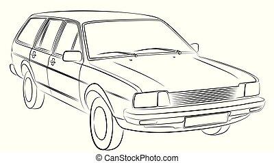 retro, autó, sketch.