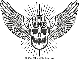 Retro authentic emblem, tattoo is a skull with wings