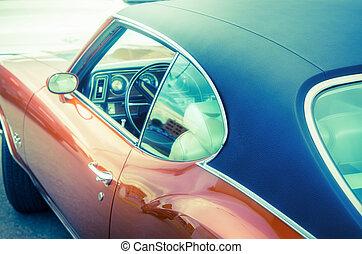 retro, auto, nahaufnahme
