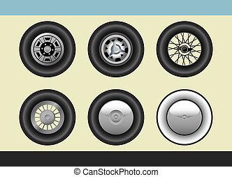 retro, auto, räder