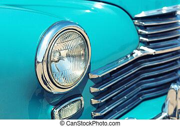 retro, auto, scheinwerfer