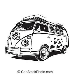 retro, auto, vrede, liefde, reizen, bestelbus, vector, illustratie