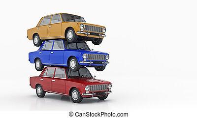 retro., automóvil, 3d, interpretación