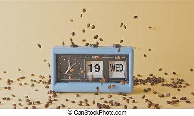 retro, automne, haricots, fraîchement, rôti, café, horloge, ...