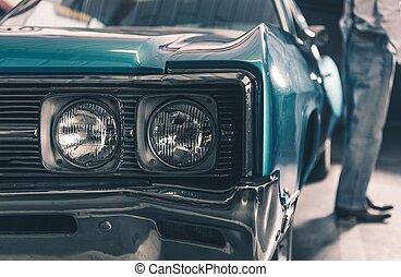 retro, automobilen, closeup