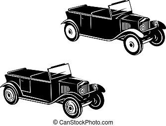 retro, automobilen, i, 1920-1930, år