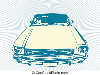 retro, automobilen