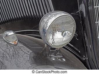 Retro automotive lamp. Macro view, soft focus