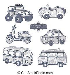 retro, autos, heiligenbilder, satz