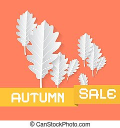 Retro Autumn Sale Background With Oak Leaves on Orange Retro Background