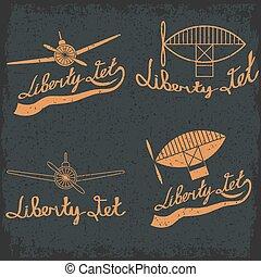 retro aviation grunge labels set
