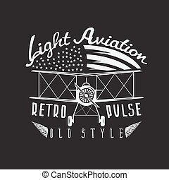 retro aviation vector design with airplane and wings