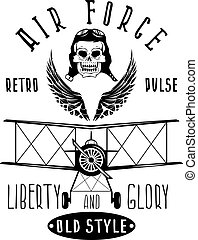 retro aviation vector design with skull, airplane and wings