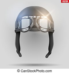 Retro aviator helmet with goggles