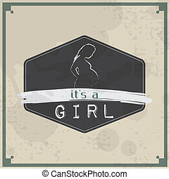 Retro Baby card - Its a girl theme