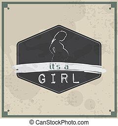 Retro Baby card - Its a girl theme