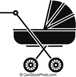 Retro baby carriage icon, simple style